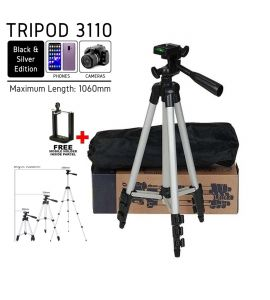 Tripod 3110 Universal Professional Portable Tripod Stand for Cannon Camera, Nikon Camera, Sony Camera, Mobile Phones and Tiktok by Gear Up