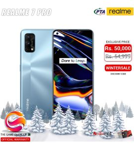 Realme 7 Pro - 6.4 Inch Display - 64MP Camera - 8GB RAM - 128GB Storage - Dual SIM - PTA Approved - Official Warranty - Mirror Silver | The Game Changer