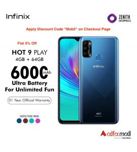 Infinix Hot 9 Play 4+64Gb (On Flat 5% Off) Color, Midnight Black, Quetzal Cyan, Violet & Ocean Wave