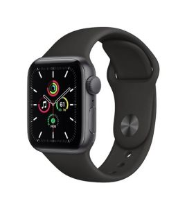 Apple iWatch SE 44mm Gray Aluminum Case With Black Sport Band - GPS - IS