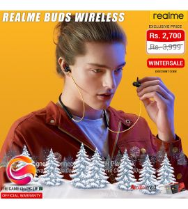 Realme Buds Wireless Magnetic Connection with Powerful Bass Boost 11.2mm Driver 12 Hours Playback with Flexible Neckband Bluetooth 5.0 Real Bass - Official Warranty - Black & Yellow | The Game Changer