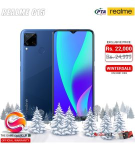 Realme C15 - 6.5 Inch Display - 13MP Camera - 4GB RAM - 64GB Storage - Dual SIM - PTA Approved - Official Warranty - Marine Blue | The Game Changer