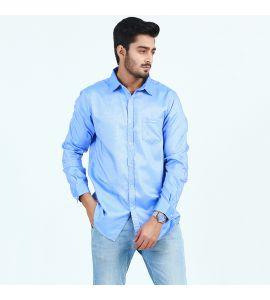 Blue Front Pocket Casual Shirt For Men