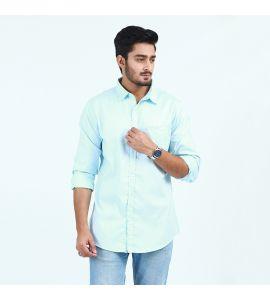 Sky Blue Front Pocket Shirt For Men