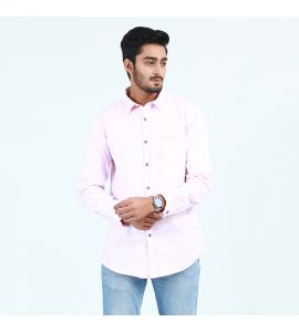 Pink Front Pocket Casual Shirt For Men