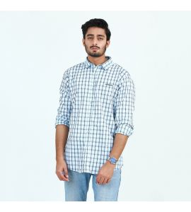 White Check Blue Lines Casual Shirt For Men