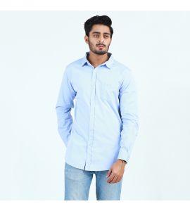 Blue Plain Front Pocket Casual Shirt For Men