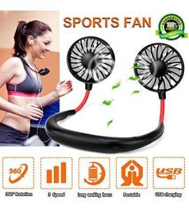 Portable Neck Fan Personal Fan Wearable Sports Fan Rchargeable Neckband Fan Hands Free USB Mini Fans 3 Speed Adjustable for Office Outdoor Travel - Black