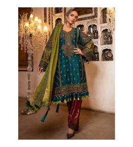 Maria.B Unstitched Mbroidered Teal, Green & Deep Ruby 3 Piece (BD-1706) - IS
