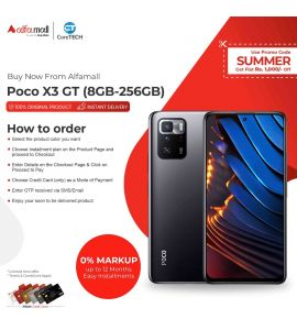 Xiaomi Poco X3 GT (8GB + 256GB) with One Year Official Warranty & PTA Approved Installment CoreTECH