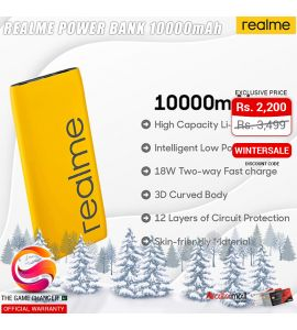 Realme 10000mAH Power Bank - Official Warranty - Yellow | The Game Changer