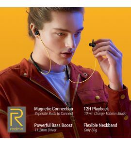 Realme Buds Wireless Magnetic Connection with Powerful Bass Boost 11.2mm Driver 12 Hours Playback with Flexible Neckband Bluetooth 5.0 Real Bass - Black & Yellow  - 6 Months Brand Warranty