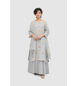 Unstitched Applique and embroidered shirt with flared sharara pants and resham check dupatta SNS-047