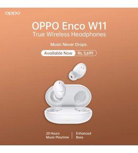 Oppo Enco W11 True Wireless Headphones (White) - 1 Year Official Brand Warranty