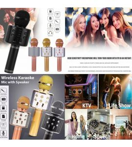 WS 858 Professional Bluetooth Wireless Microphone Portable Speaker Handheld Mic USB Music Player Singing Recorder Multicolor by Gear Up